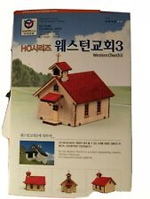 3D CHURCH WOODEN MODEL KIT HO scale 1/87 Wood Western Style Miniature Diorama