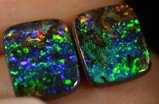 Boulder Opal (pair) Australian natural solid 4.45 ct has EXCEPTIONAL COLOURS