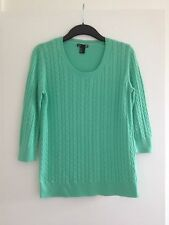 Lovely Ladies H&M Vibrant Mint Green 3/4 Sleeves Cable, Fine Knit Jumper -Size M