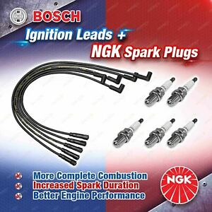 5 x NGK Spark Plugs + Bosch Ignition Leads Kit for Volvo 850 S70 V70 B5254S