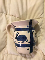 VINTAGE HAND PAINTED BEIGE POTTERY BLUE FARM ANIMAL PIG SHEEP BUNNY PITCHER VASE
