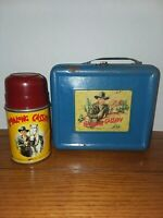 Vintage 1950s Hopalong Cassidy Lunchbox and  Thermos Metal Blue Rare