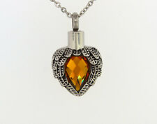 Angel Wings Wrapped Around Citrine Colored Stone Cremation Jewelry Necklace
