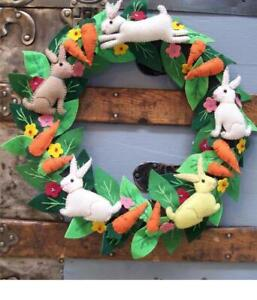 """14"""" Handmade EASTER WREATH Wool Flowers Carrot RABBIT Bunny Embroidered Beaded"""