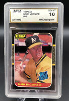 Mark McGwire 1987 Donruss/Leaf Rated Rookie Card #46 A's Mint Grading 10 GEMMINT
