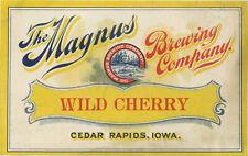New listing Prohibition Magnus Brewing Wild Cherry Soft Drink Bottle Label - Cedar Rapids Ia