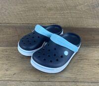Crocs Crocband II Clogs 11990-4GT Navy/Ice Blue Slip On Unisex Junior's Sz 1 US