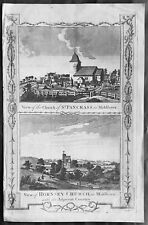 1795 Boswells Antique Print St Pancras Church Somers, St Marys Hornsey Middlesex