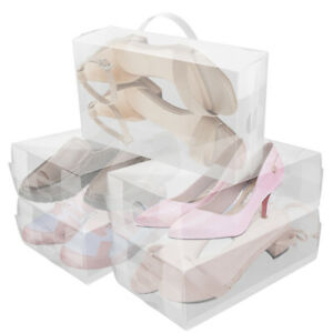 Heavy Duty Ladies Stackable Foldable Plastic Shoe Storage Boxes Organiser Clear