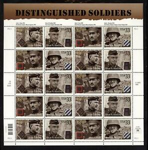 SCOTT 3393-96 2000 33 CENT DISTINGUISHED SOLDIERS ISSUE SHEET OF 20  MNH VF!