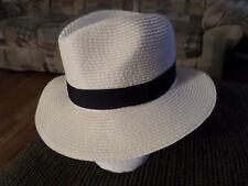 D&Y  Women's Embellished Ribbon Trim Paper Hat Tan Black Excellent Shape
