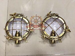 New Nautical Marine Solid Brass Ship Passageway Bulkhead Wall Deck Light Lot 2