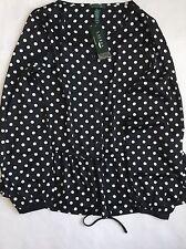 $109 Lauren Ralph Lauren Black & White Polka-Dot Long Sleeve Peplum Blouse Sz XL