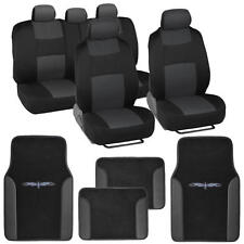 Black & Charcoal Grey Seat Covers Set Complete w/ Dark Vinyl Trim Floor Mats