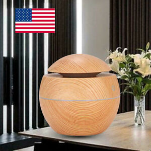 LED Aroma Essential Oil Diffuser Aromatherapy Wood Grain Ultrasonic Humidifier
