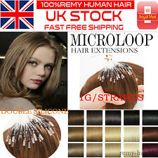 """16""""18""""20""""22"""" Micro Loop Beads Ring Double Drawn Remy Human Hair Extensions UK 1G"""