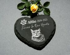 Personalised Pet Memorial HEART Plaque For Pet Cat Dog Grave Stone Slate Marker