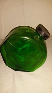 GLASS BOTTLE CANISTER GREEN W/CAP PATENT APPLIED FOR MARK VINTAGE ART DECO