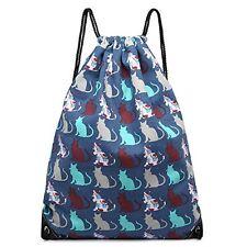 Cotton Canvas Waterproof Printed Drawstring Gym Work Backpack Rucksack (Cat N...