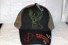 DEER HUNTING BORN TO PULL THE TRIGGER BULET HOLE BASEBALL CAP HAT CAMO & BLACK
