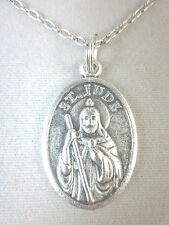 """Silver Plated St Jude Medal Italy Pendant Necklace 20"""" Chain"""