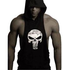 UK Men's Hoodie Vest Muscle Stringer Bodybuilding Punisher Gym Tank Top T-shirt Red L