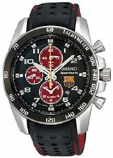 NEW SEIKO SPORTURA FC Barcelona Red & Black Stainless Steel Leather SNAE75 Watch