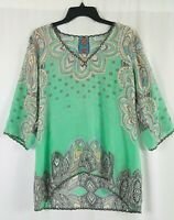Johnny Was Mint Green Paisley Silk Boho Tunic Top Embroidered 3/4 Sleeve Size Mh