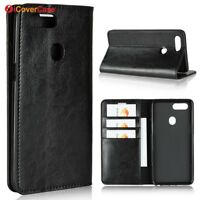 Luxury Genuine Leather Flip Wallet Stand Case Cover For Oppo R15 / R15 Pro