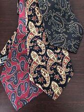 Lot of 3 Mens Vintage 100% Silk Classic Paisley Ties Christian, Beene, Pulitzer