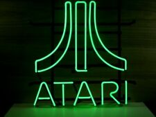 "Atari Green Neon Light Sign 17""x14"" Game Room Light Beer Bar With Dimmer"