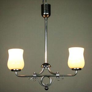 Art Deco Pendel.- Balkenleuchte Hängelampe Chrom & Glas Vintage 30er 40er Jahre