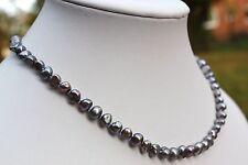 BR1G 45cm Echt Süßwasser Zucht Perle Schmuck Perlenkette Halskette Kette Collier