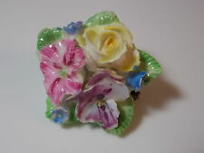 British Vintage Crown Staffordshire Bone China Pansy Violet Rose Flower Brooch