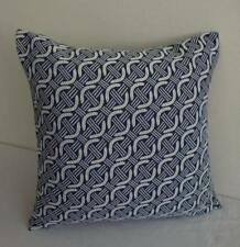 Hamptons Elegant Chains Blue & White Jacquard Fabric Cushion Cover 45