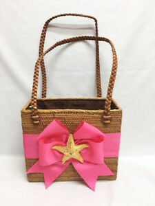 NEW Bosom Buddy PURSE Hand Woven Straw Pink Bow Gold Starfish Summer Tote BAG