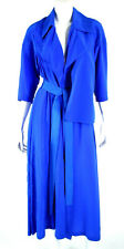VALENTINA KOVA Cobalt Blue Silk Crepe Pointed Collar Belted Duster Coat O/S