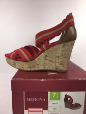 Merona Womens Heels Wedge.size 7.5 M red fabric double cross strap cork shoes