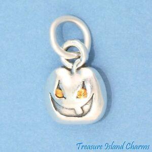 Halloween Jack-O-Lantern Pumpkin 925 Sterling Silver Charm with Orange CZ
