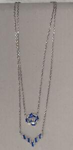 Cubic zirconium/Blue Sapphire 925 Sterling Silver Double Chain Necklace/Pendants