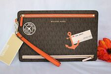 NWT Brown MICHAEL KORS Illustrations SAIL AWAY LARGE ZIP Travel WRISTLET Wallet