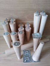 4 x Wooden furniture legs/feet, replacement, chair, sofa, footstool, beech, M8,