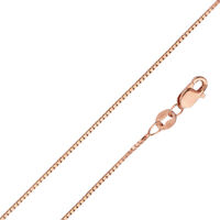 14k Solid Rose Gold 0.8 mm Box Chain Necklace - 16'' to 24'' for men women