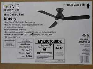 Emery 56 in. LED Natural Iron Ceiling Fan with Remote Control by HDC