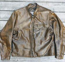 Rare Vintage 1960s Brown Leather Moto Cafe Jacket 46 by famed Navy G-1 mfger