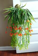 Artificial Plastic Grass Set of 5 Hanging With Orange Flower