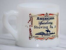 VINTAGE ANTIQUE AMERICANA SPICEBERRY SHAVING SOAP SPOONER MILK GLASS MUG CUP