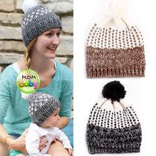 96ba70eda8a 2PCS Mom Baby Women Newborn Toddler Kids Girl Boy Winter Knitted Hats  Beanie Cap