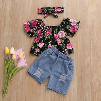 Kids Infant Baby Girls Floral Print Loose T-shirt+Denim Shorts Ripped Jeans Set