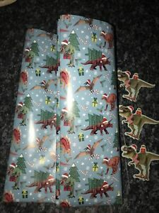 X/Large 3M x 70cm Flat Sheet Christmas Gift Dinosaur Wrapping Paper & 3Gift Tags